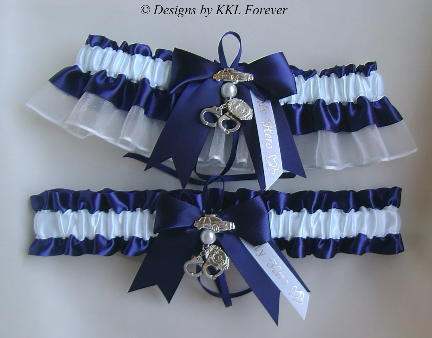 Police Officer Wedding Garters Handcuff by ElegantGarterShop