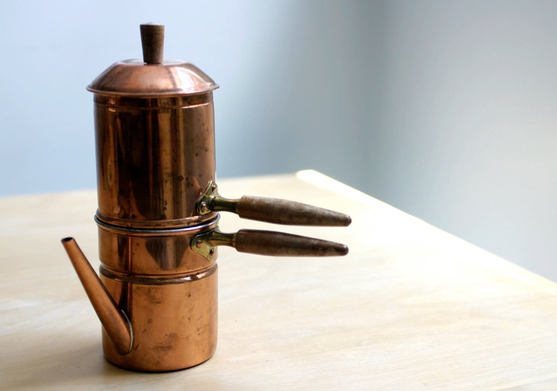 Vintage Stove Top Copper Neapolitan Espresso Coffee Pot