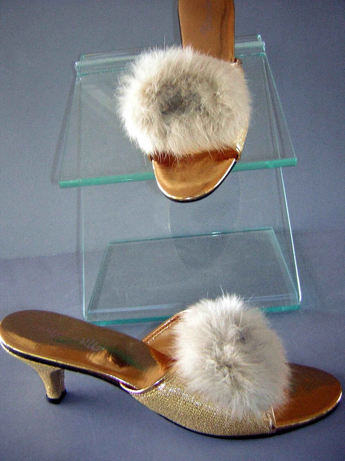 Vintage 60s Fur Pom Pom Amp Golden Bedroom Slippers Kitten Heels