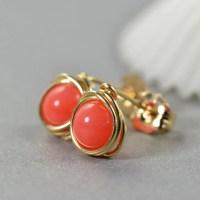 Coral Post Earrings Salmon Stud Earrings by NansGlam on Etsy