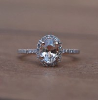 Oval champagne peach sapphire diamond ring 14k rose gold