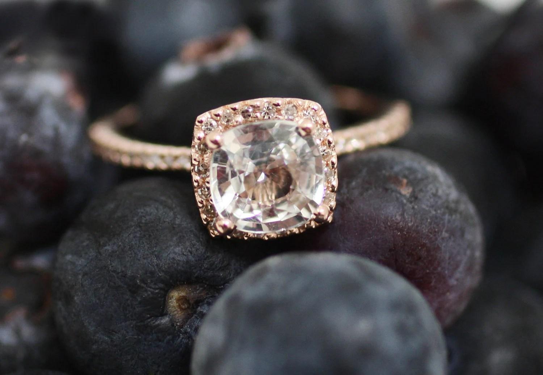 Cushion White Sapphire In 14k Rose Gold Diamond Ring