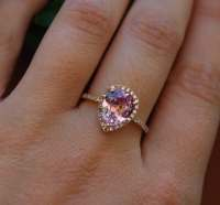 2.2ct Peach pink champagne tear drop sapphire and rose gold