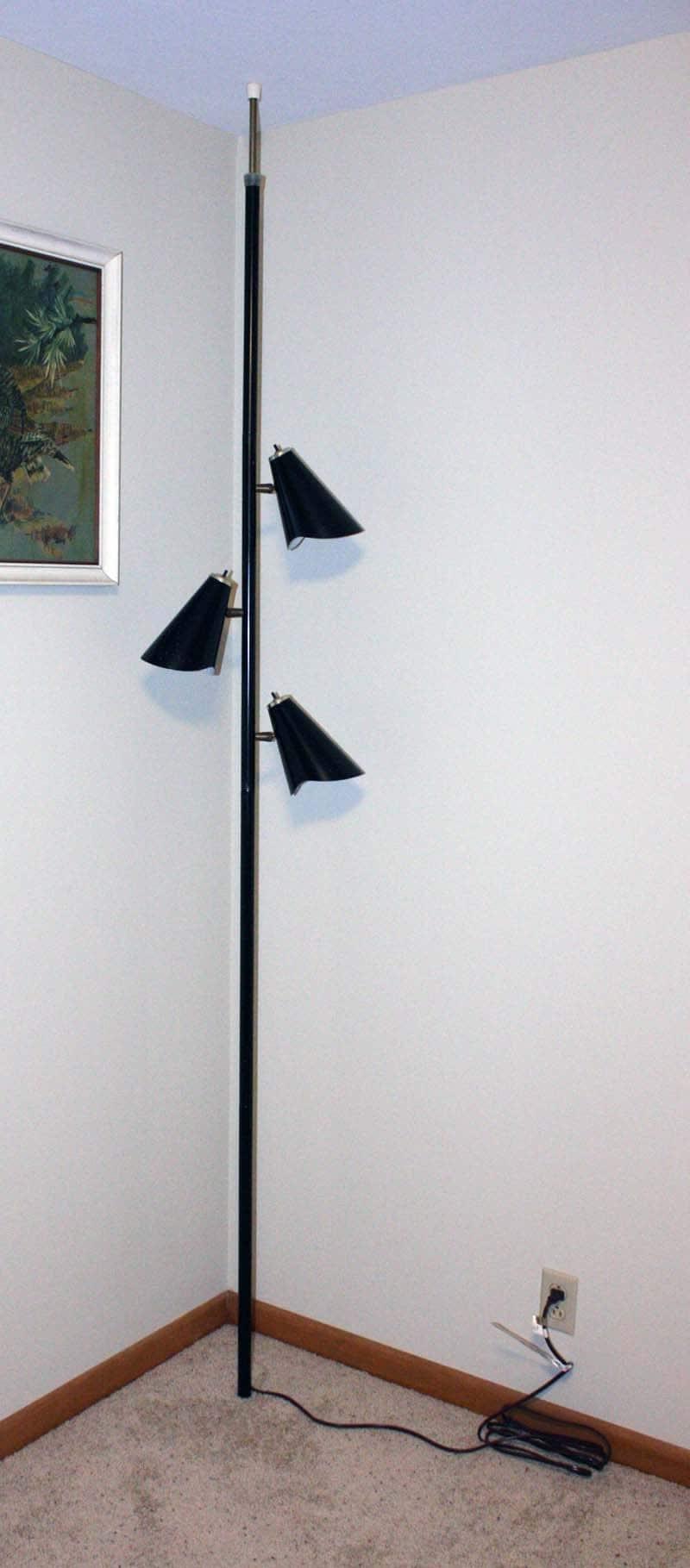 Vintage lamp pole lamp tension pole lamp black by OldCottonwood