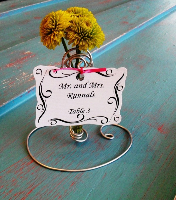 25 INDOOR or OUTDOOR mini bud vase WEDDING PLACE CARD HOLDER