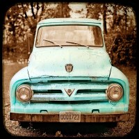 Teal Decor Turquoise Art Rustic Decor Vintage Auto Americana
