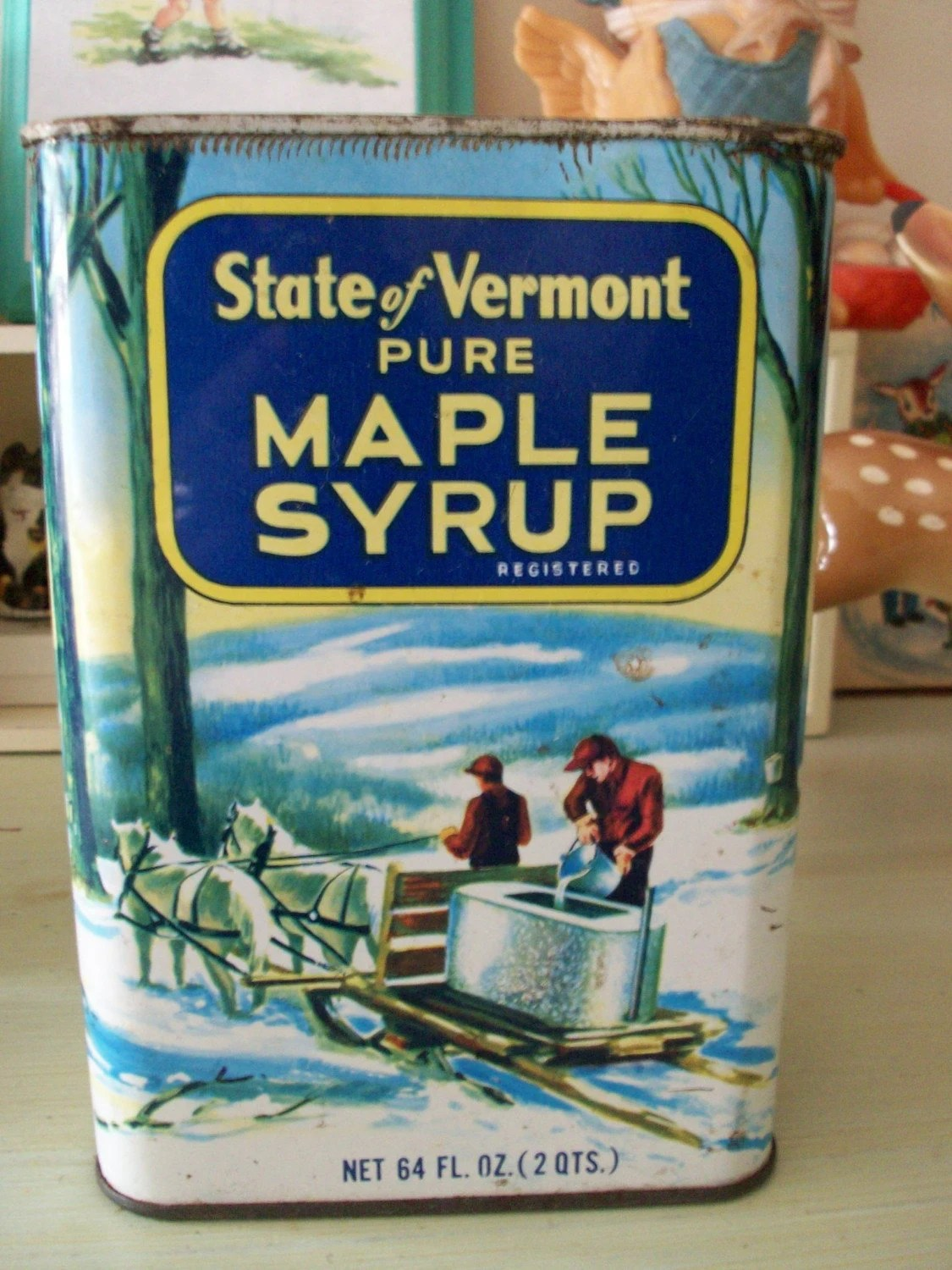 old and rusty vermont maple syrup tin can by ricracandbuttons