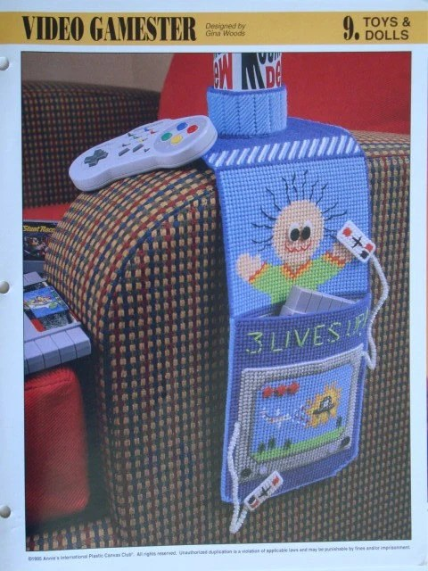 Video Gamester Plastic Canvas Pattern holds the Game Gear for