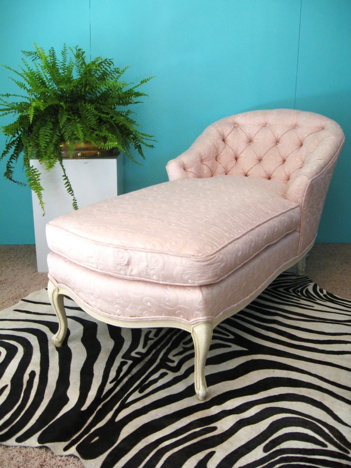 pink chaise lounge chair fold away single bed fabulous french embroidered silk vintage by fabulousmess