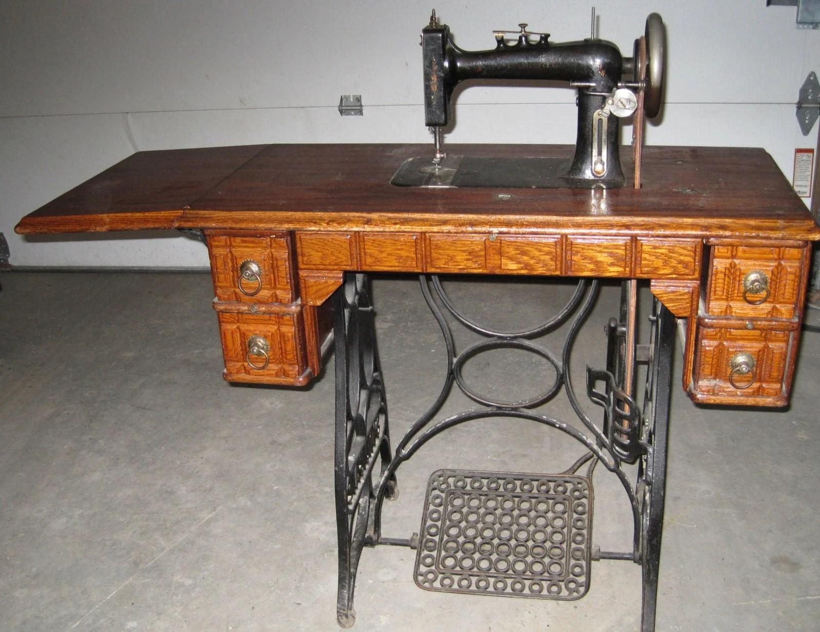 Antique Oak TREADLE SEWING MACHINE CABINET by