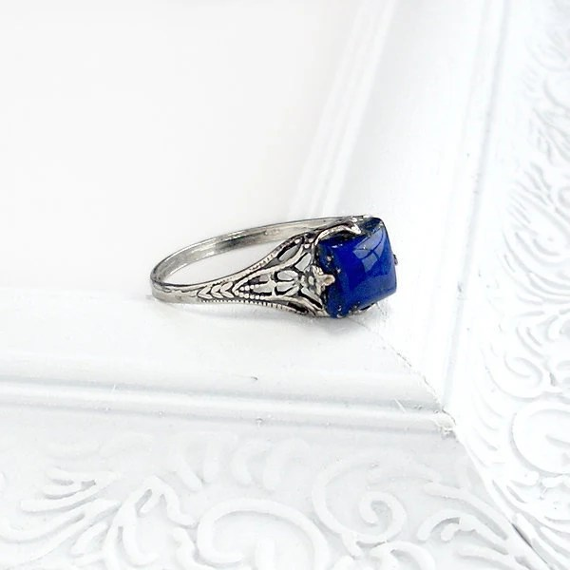 Lapis Lazuli Ring Sterling Silver Lapis Square Gemstone