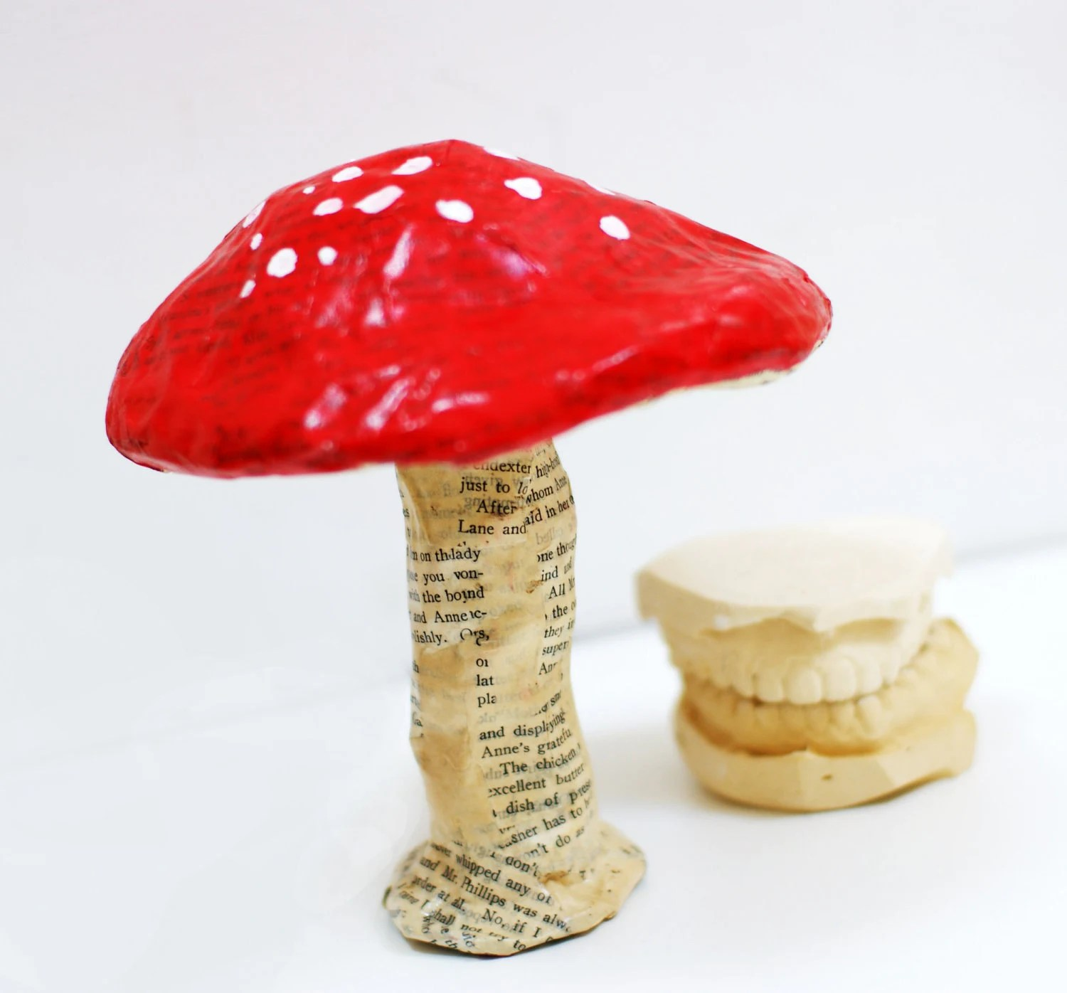Red Toadstool Mushroom for Woodland Play - Unicorn Friendly Ornament Paper Mache