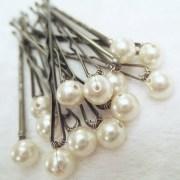 pearl hair pins ivory set of 12