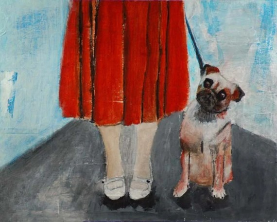Original Acrylic Painting - Woman walking her dog Morning Walk Orange, animal, blue sky