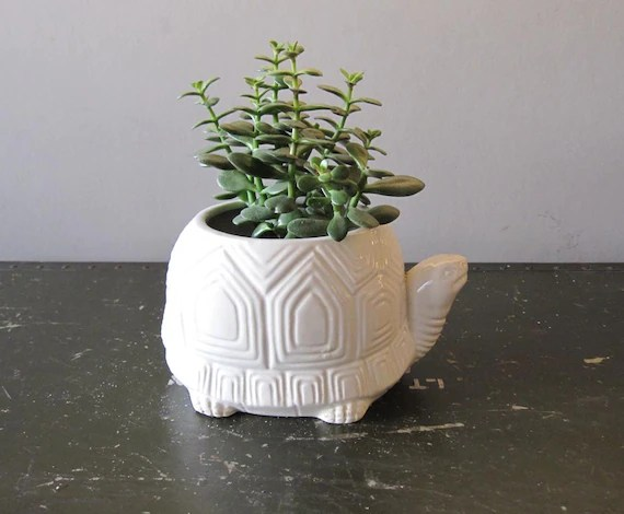 White Geometric Turtle Planter Made In JAPAN
