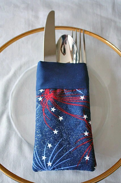 kitchen utensil holders table placemats silverware holder pouch reusable july 4th red white