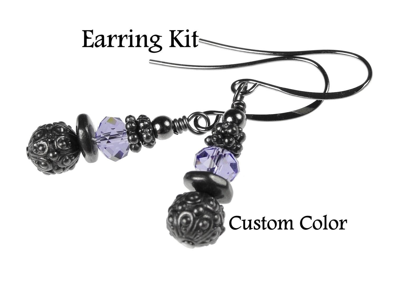 Gunmetal Earring Kit Diy Earrings Do It Yourself Jewelry