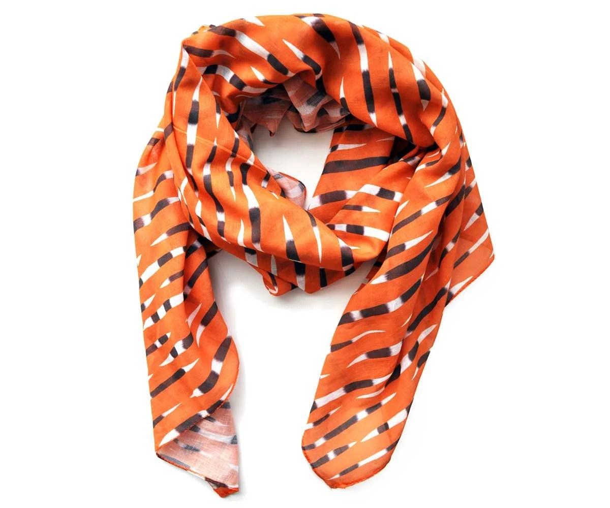 Porcupine Quills Scarf in Orange Gauzy Cotton - prettypennydesigns