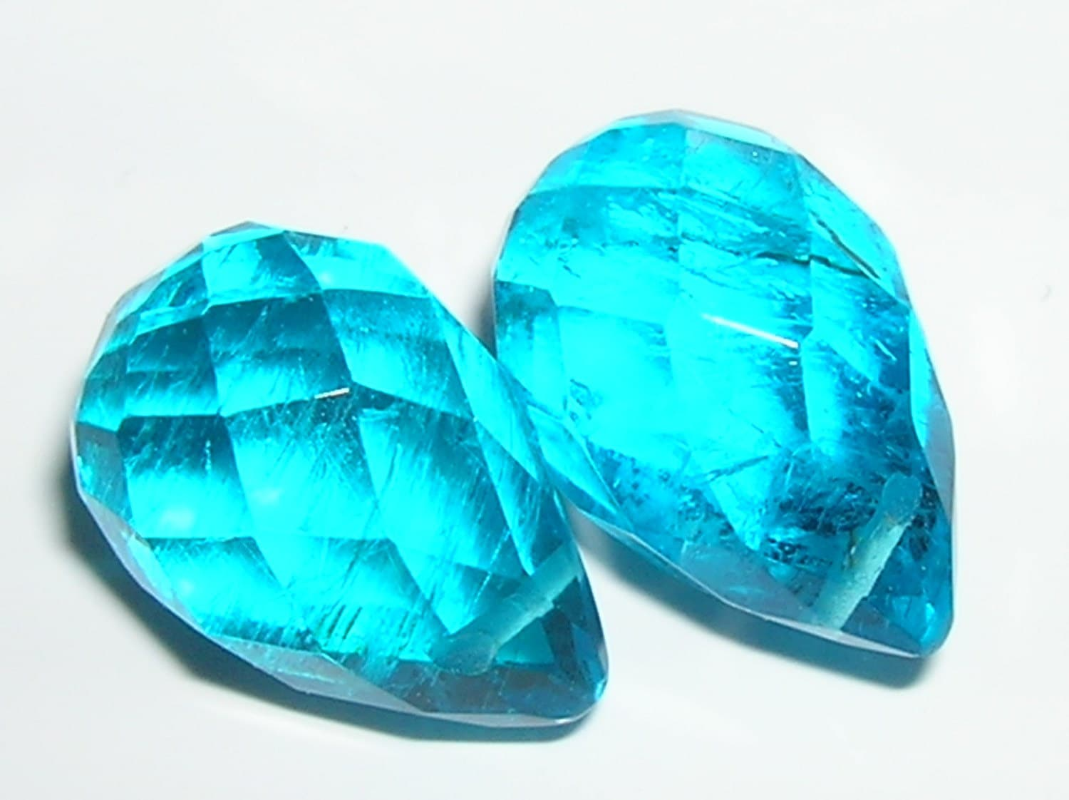Blue Apatite Gemstone Faceted Briolettes 12mmx18mm 8 By