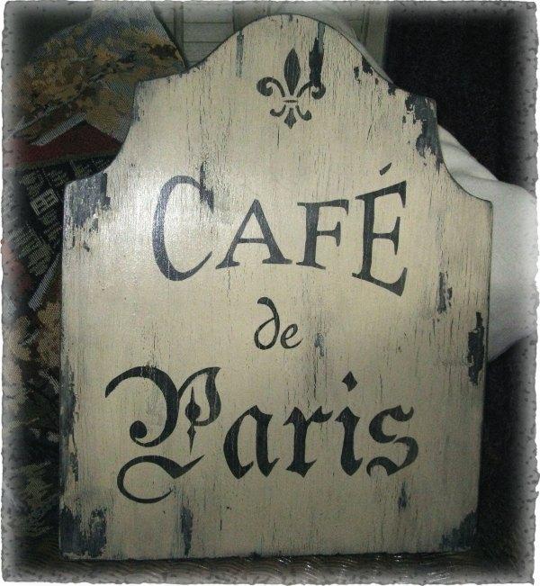 Vintage Cafe De Paris Sign French Country Cottage Chic