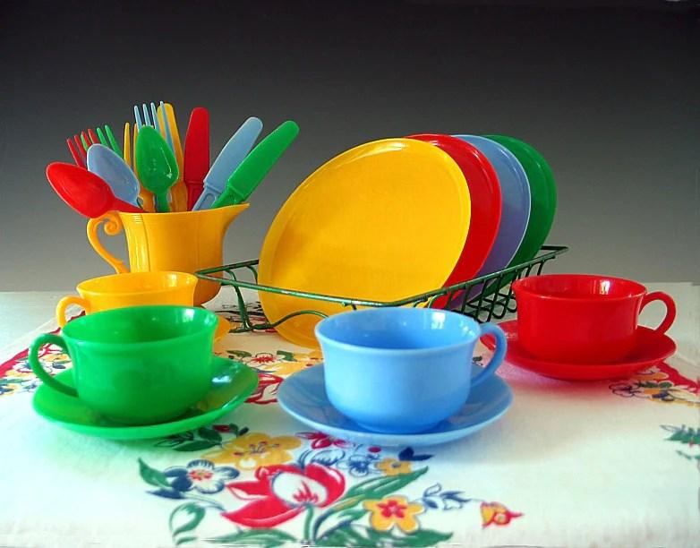 Vintage Childs Dish Set Plastic Toy Dishes Play Set Tea Set
