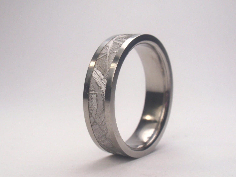 Mens Meteorite Wedding Band Mens Titanium Ring by jewelrybyjohan