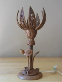 Vintage Arts and Crafts Carved Wood Lotus Flower Lamp