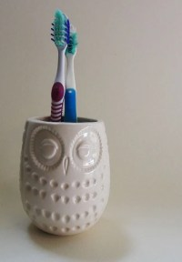 Items similar to White owl cup toothbrush holder from ...