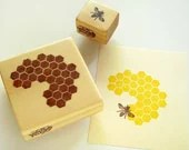 Hand Carved Rubber Stamp, Honeycomb and Honeybee set of 2 - TCWitchcraftFactory