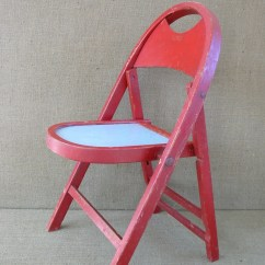Folding Chair For Child Bedroom Boudoir 39s Children Red Vintage