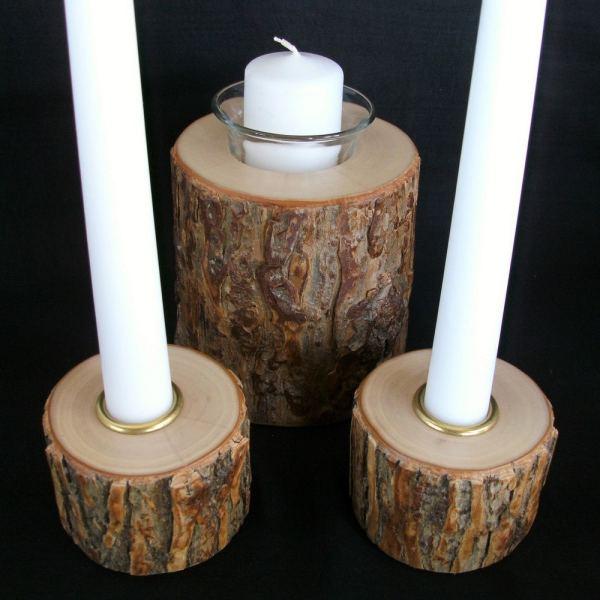 Unity Candle Set Rustic Wedding