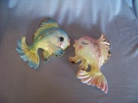 Vintage 1950's Ceramic Kissing Fish Couple Wall Hanging