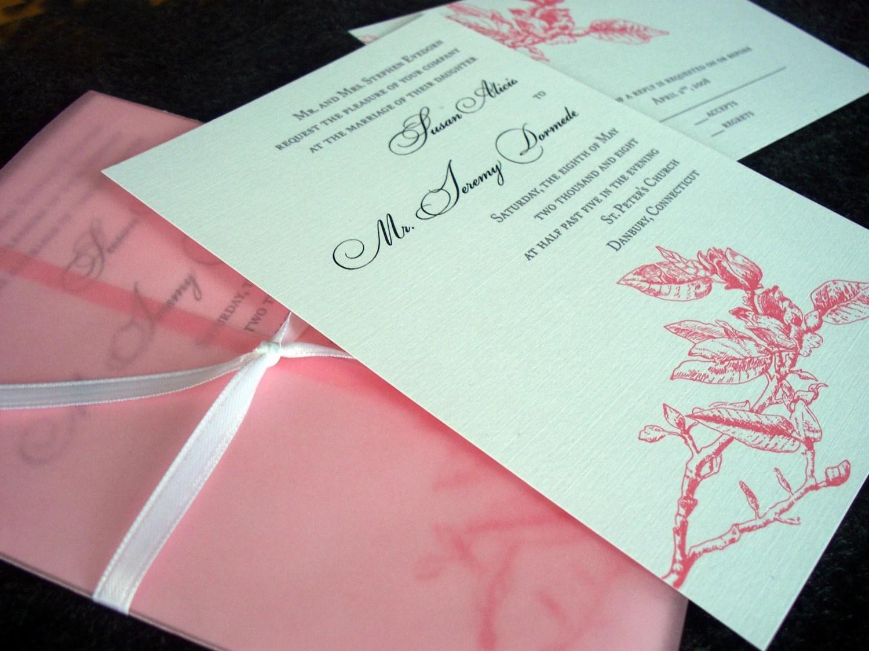 Magnolia Wedding Invitation Sample Atlanta by Tulaloo on Etsy