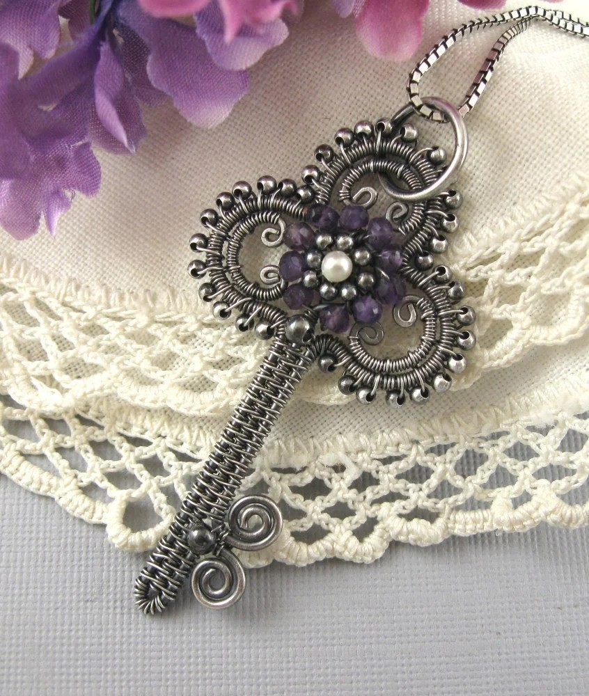 Jewelry Tutorial Victorian Key Pendant Wire Wrapped