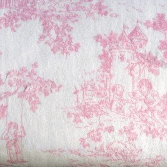 Pink Central Park Toile Minkee Minky Chenille Fabric