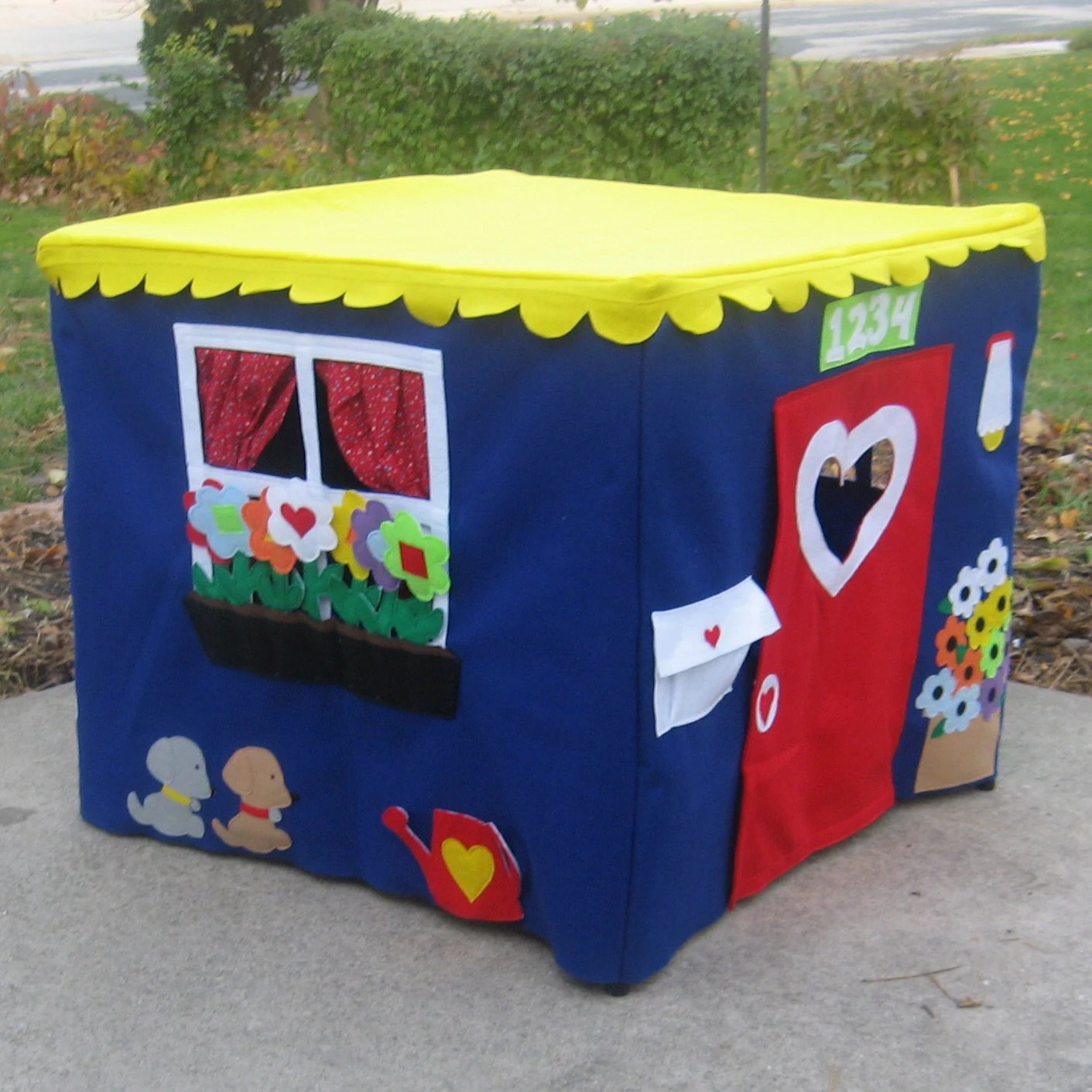 Card Table Playhouse, Royal Blue Double Delight, Pickable Flowers, Custom Order, Personalized
