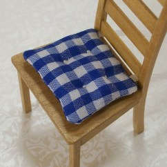 Red Kitchen Chair Pads Blue French Bistro Chairs White Cushions Gingham 1 12 Dollhouse