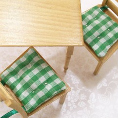 Red Kitchen Chair Pads Wedding Covers Tralee Green Cushions Gingham 1 12 Dollhouse