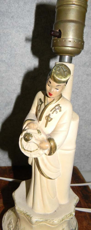 Vintage Chalkware Asian Lamps 1950s Kitsch by vagabondsandcaravans