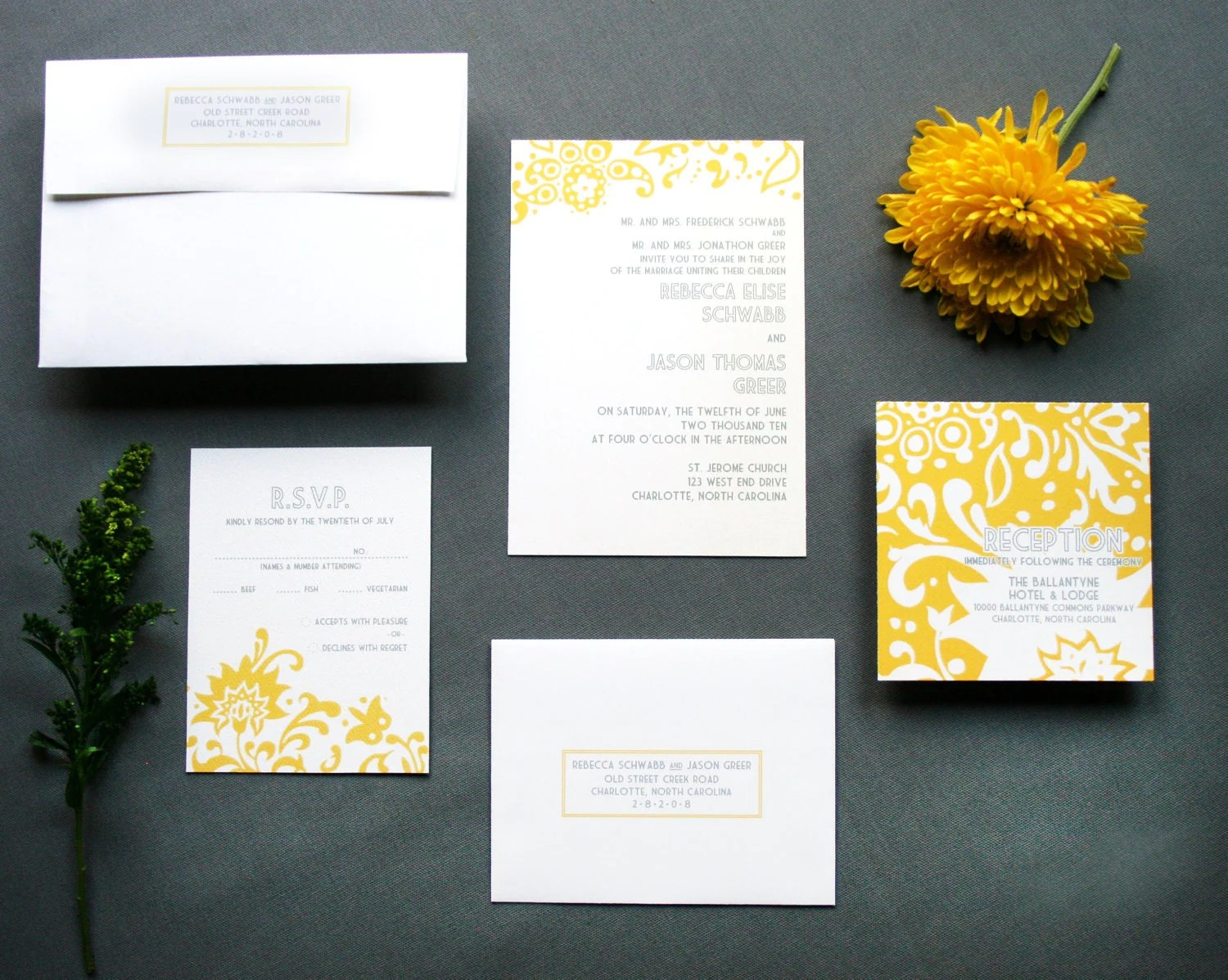 Ready To Print Wedding Invitations: The Rebecca Wedding Invitation Suite