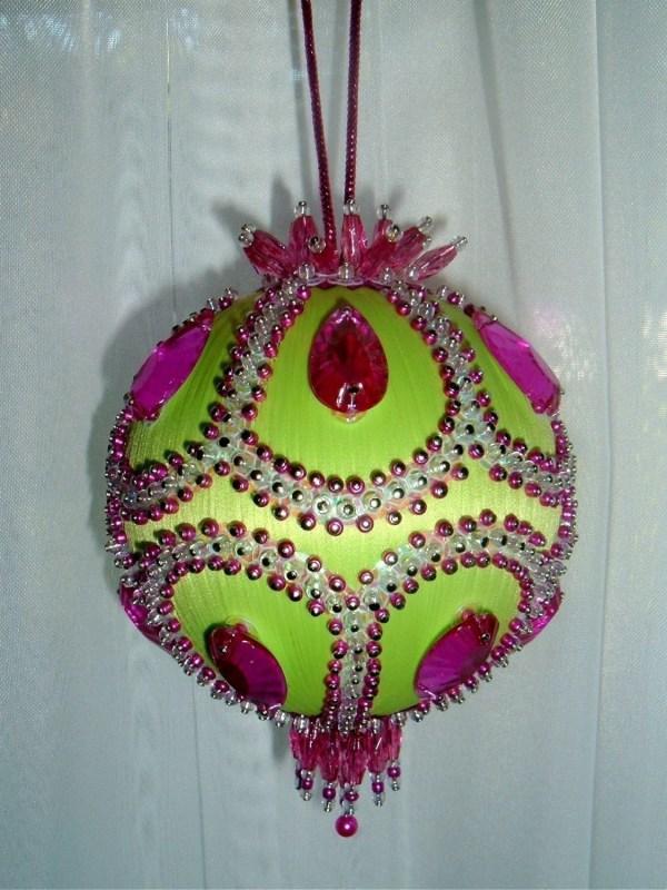 Satin Beaded Christmas Ornament Kit Pistachio Scoop Sarmona