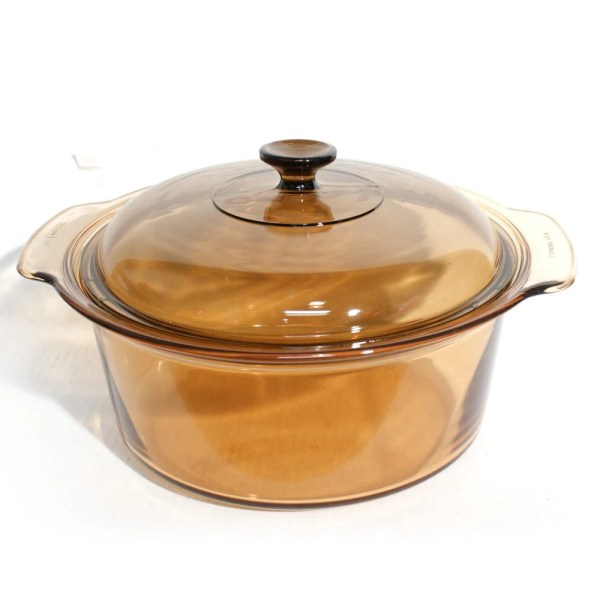 Large Pyrex Amber Visions 5l Casserole Dutch Oven With Lid