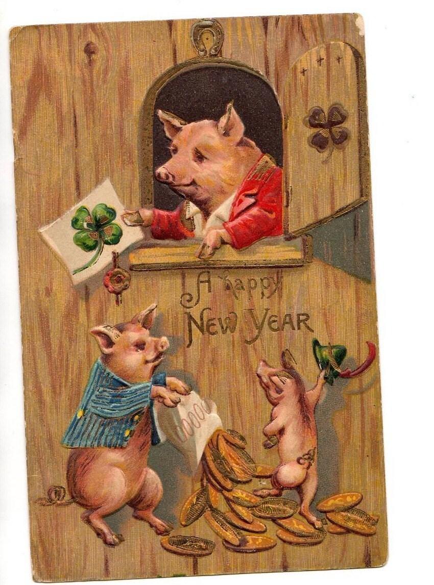 Happy New Year Pig Vintage Postcard