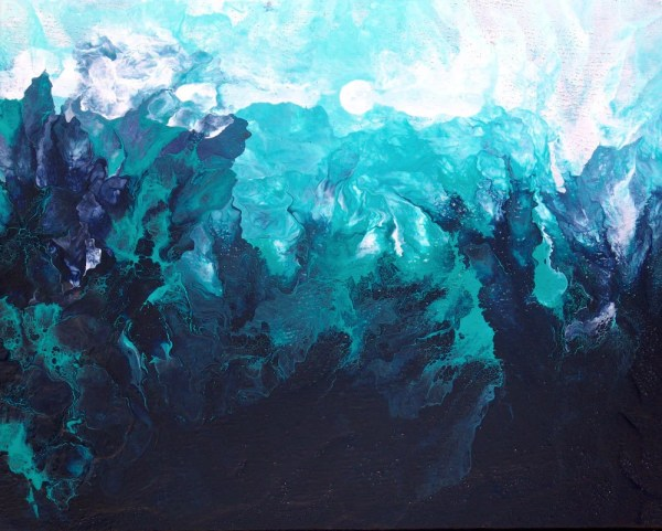 Blue Abstract Painting Light Of Moon Landscape Water