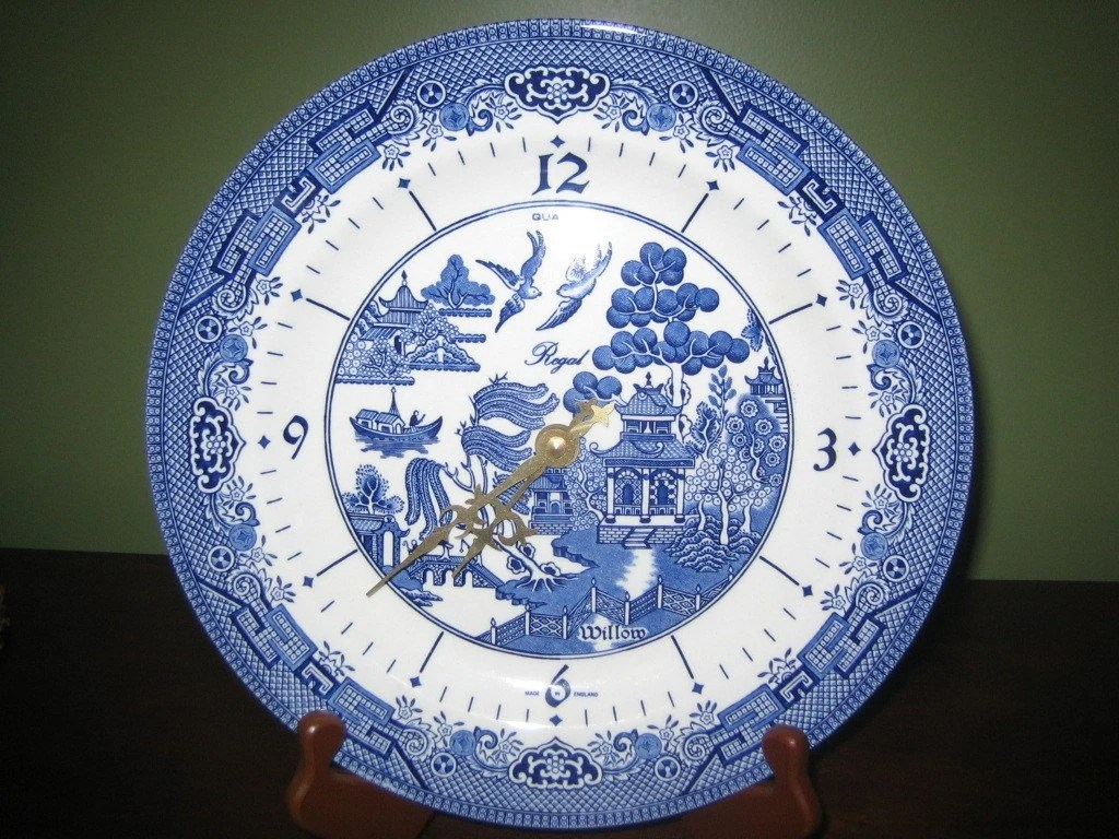 Rare Churchill Regal Blue Willow Plate Clock Made By Vintagewares