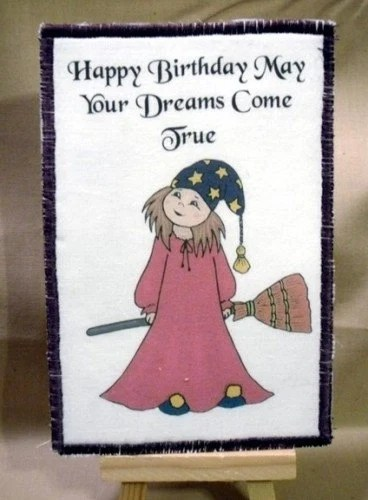 Items Similar To Little Witch With Birthday Wishes Fabric Postcard Homemade On Etsy