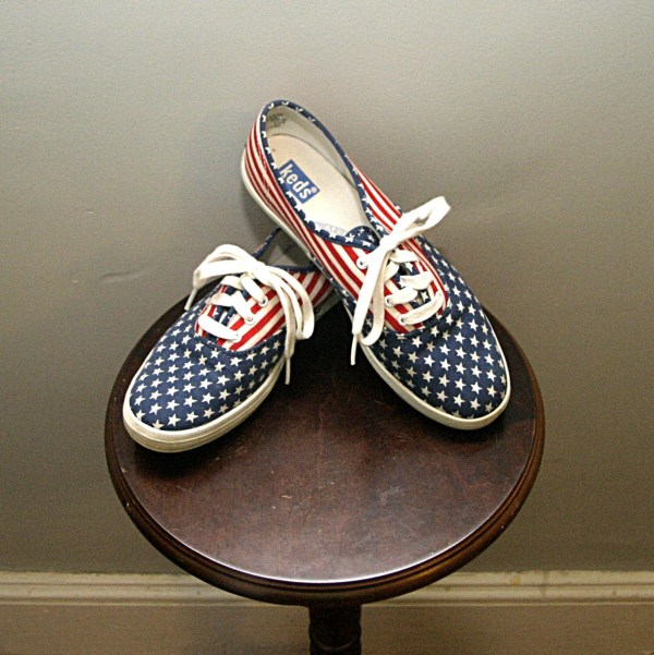 Vtg Red White & Blue Canvas Keds Lace Sneakers Skimmers Sz