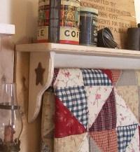 Primitive Quilt Shelf Rack Handmade Shabby Farmhouse Antique