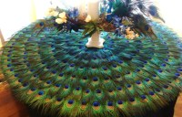 RESERVED 36 Inch Cake Table Peacock Feather Mat for HollyRPR