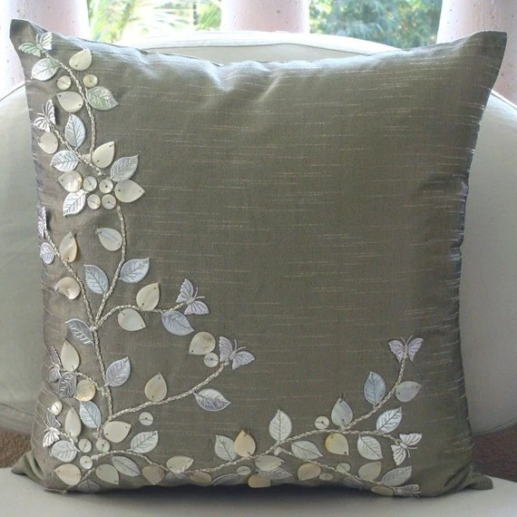 Euro Sham Covers 26x26 Silk Mother Of Pearl Leather